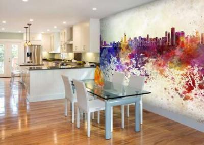 watercolour skyline mural